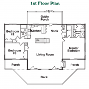 1st Floor Plan for Black Mountain Log Home