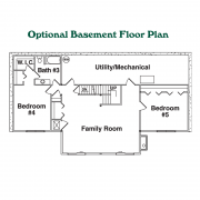 Optional Basement Floor Plan for Black Mountain Log Home