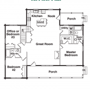 1st Floor Plan for Blue Ridge Log Home