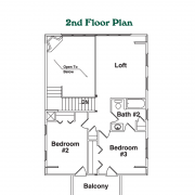 2nd Floor Plan for Chalet Mountain Home