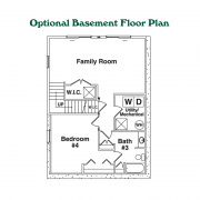 Optional Basement Floor Plan for Chalet Mountain Home