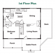 1st Floor Plan for Cherokee Log Home