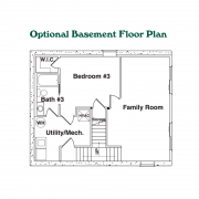 Optional Basement Floor Plan for Cherokee Log Home