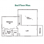 2nd Floor Plan for Grandview Log Home