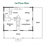 1st Floor Plan for the Hideout Log Home