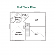 2nd Floor Plan for the Hideout Log Home