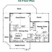 1st Floor Plan for Linville Log Home