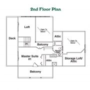 2nd Floor Plan for Linville Log Home