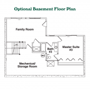 Optional Basement Floor Plan for Linville Log Home
