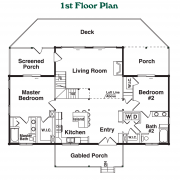 1st Floor Plan for Mount Mitchell Log Home