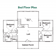 2nd Floor Plan for Mount Mitchell Log Home