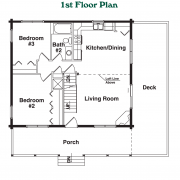 1st Floor Plan for Rocky Creek Log Home