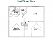 2nd Floor Plan for Rocky Creek Log Home