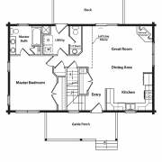 1st Floor Plan for Cane Creek Log Home